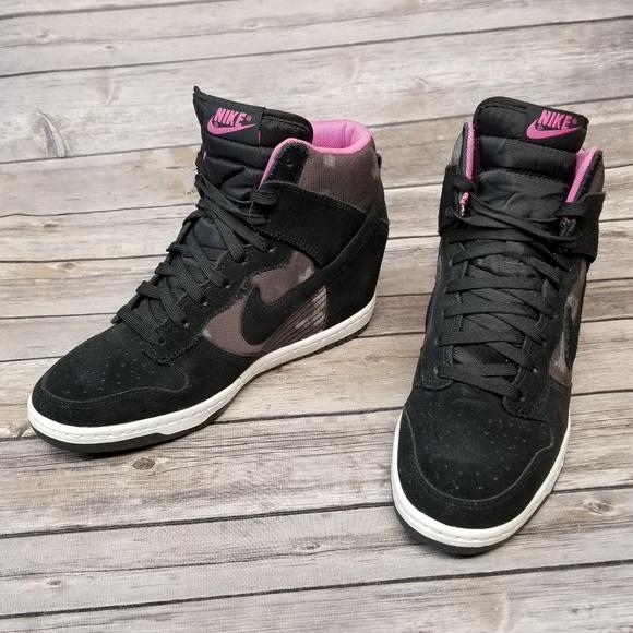 2196026523859d Nike Dunk Sky Hi Sneaker Wedge Pink Camo. M 5bb268203e0caa340375cc4b